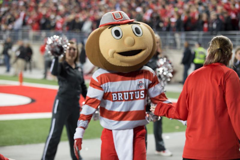 Brutus Alumni and Ambassadors are recognized on field at the Ohio State vs. Minnesota football game at Ohio Stadium on Saturday, Nov. 7th, 2015. (Lauren Purkey / Office of Student Life / Ohio State University)