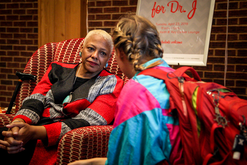 Students get the opportunity to say goodbye to Dr. J as she prepares to leave the Ohio State community.