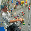 Students at the climbing wall at the HLS facility on the University of West Florida campus.