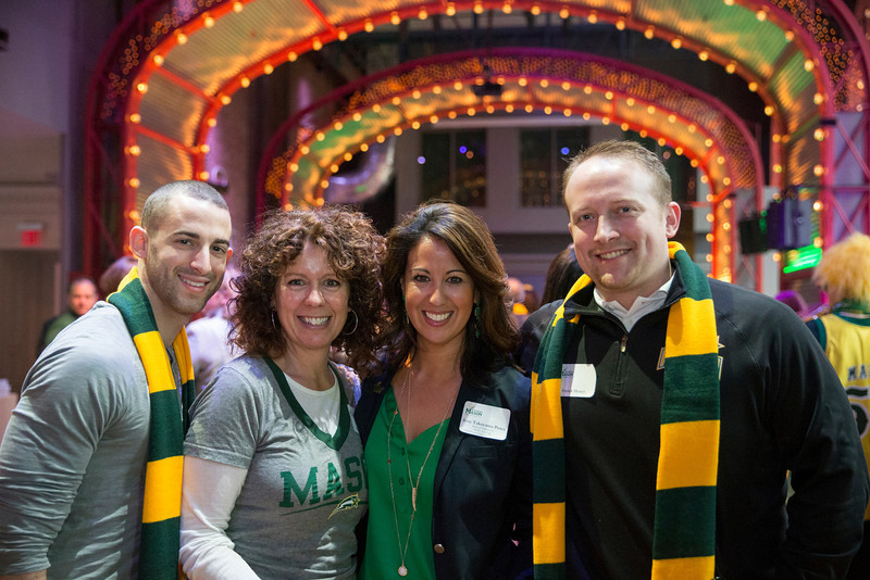 Mason staff attend the Ignite Your Mason Spirit Reception at the Brooklyn Academy of Music - Lepercq Space in Brooklyn, NY. George Mason Patriots play against the Fordham Rams in the Opening Round of the 2014 Atlantic 10 Men's Basketball Championship. Photo by Craig Bisacre/Creative Services/George Mason University