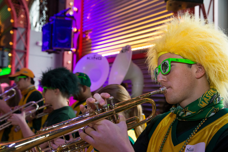 The Green Machine plays during Ignite Your Mason Spirit Reception at the Brooklyn Academy of Music - Lepercq Space in Brooklyn, NY. George Mason Patriots play against the Fordham Rams in the Opening Round of the 2014 Atlantic 10 Men's Basketball Championship. Photo by Craig Bisacre/Creative Services/George Mason University
