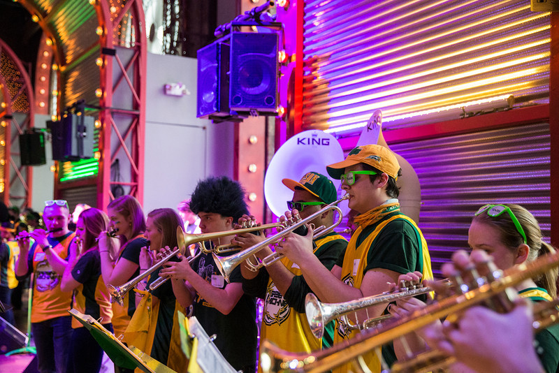 The Green Machine performs during the Ignite Your Mason Spirit Reception at the Brooklyn Academy of Music - Lepercq Space in Brooklyn, NY. George Mason Patriots play against the Fordham Rams in the Opening Round of the 2014 Atlantic 10 Men's Basketball Championship. Photo by Craig Bisacre/Creative Services/George Mason University