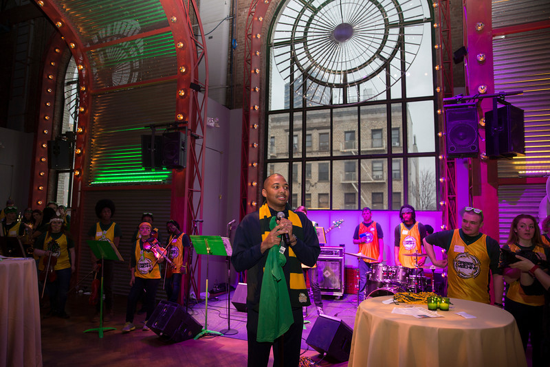 Lamar Butler speaks during the Ignite Your Mason Spirit Reception at the Brooklyn Academy of Music - Lepercq Space in Brooklyn, NY. George Mason Patriots play against the Fordham Rams in the Opening Round of the 2014 Atlantic 10 Men's Basketball Championship. Photo by Craig Bisacre/Creative Services/George Mason University