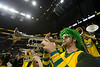 The Green Machine plays as the George Mason Patriots play against Fordham Rams in the Opening Round of the 2014 Atlantic 10 Men's Basketball Championship at the Barclays Center in Brooklyn, NY. Photo by Craig Bisacre/Creative Services/George Mason University