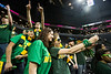 Mason fans take selfies as the George Mason Patriots play against Fordham Rams in the Opening Round of the 2014 Atlantic 10 Men's Basketball Championship at the Barclays Center in Brooklyn, NY. Photo by Craig Bisacre/Creative Services/George Mason University