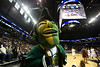 The Patriot mascot gets the crowd hyped as the George Mason Patriots play against Fordham Rams in the Opening Round of the 2014 Atlantic 10 Men's Basketball Championship at the Barclays Center in Brooklyn, NY. Photo by Craig Bisacre/Creative Services/George Mason University