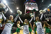 Mason Cheerleaders as the George Mason Patriots play against Fordham Rams in the Opening Round of the 2014 Atlantic 10 Men's Basketball Championship at the Barclays Center in Brooklyn, NY. Photo by Craig Bisacre/Creative Services/George Mason University