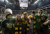 Mason fans pose as the George Mason Patriots play against Fordham Rams in the Opening Round of the 2014 Atlantic 10 Men's Basketball Championship at the Barclays Center in Brooklyn, NY. Photo by Craig Bisacre/Creative Services/George Mason University
