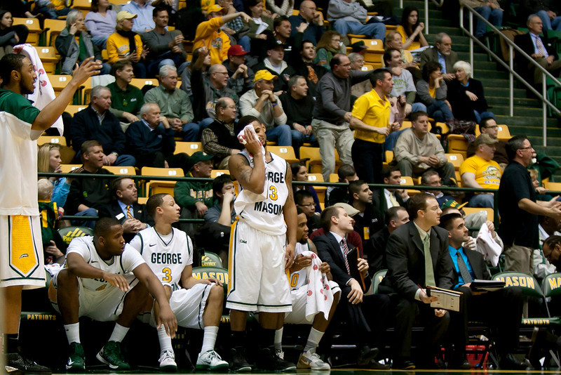 George Mason Patriots guard Corey Edwards (13) reacts to a call late in the second half against James Madison Dukes at the Patriot Center on Tuesday, January 15, 2013. Photo by Craig Bisacre/Creative Services/George Mason University