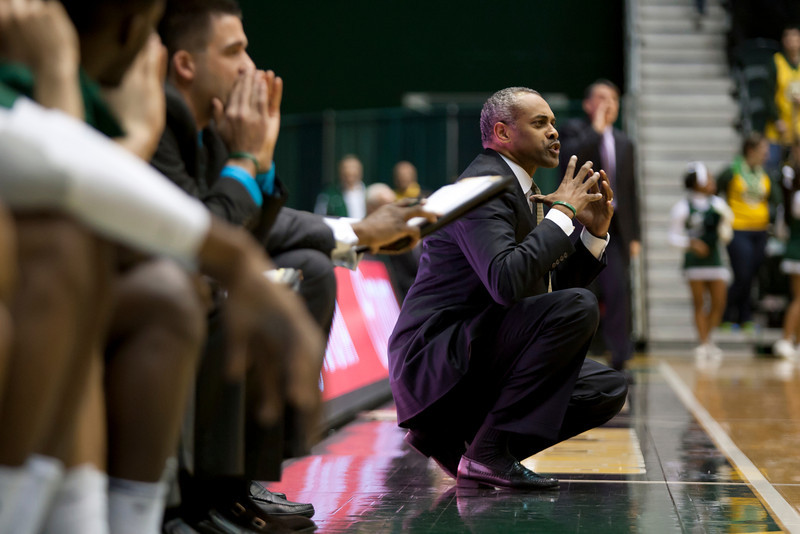 George Mason Patriots head coach Paul Hewitt directs one of his players in the first half against James Madison Dukes at the Patriot Center on Tuesday, January 15, 2013. Photo by Craig Bisacre/Creative Services/George Mason University