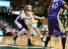 George Mason Patriots forward Marko Gujanicic (40) drives to the basket in the second half against James Madison Dukes center Gene Swindle (44) at the Patriot Center on Tuesday, January 15, 2013. Photo by Craig Bisacre/Creative Services/George Mason University