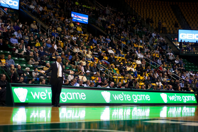 George Mason Patriots head coach Paul Hewitt argues a call in the second half against James Madison Dukes at the Patriot Center on Tuesday, January 15, 2013. Photo by Craig Bisacre/Creative Services/George Mason University