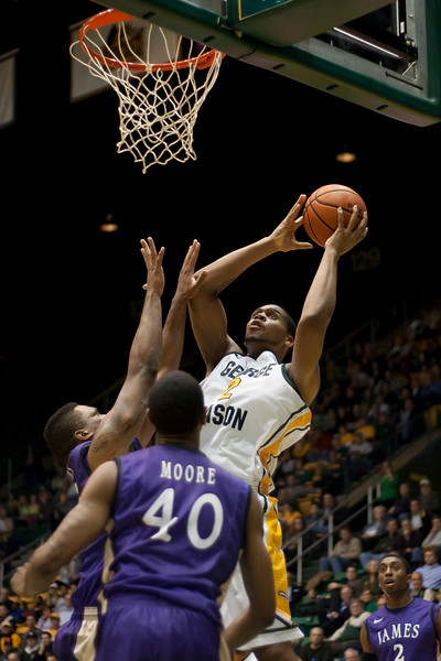 George Mason Patriots forward Johnny Williams (2) lays up the ball in the first half against James Madison Dukes at the Patriot Center on Tuesday, January 15, 2013. Photo by Craig Bisacre/Creative Services/George Mason University