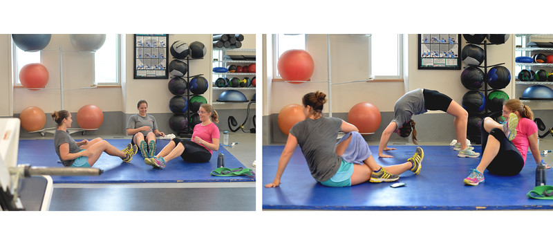 Students Sarah Braddy, Kathryn Mendenhall and Emily Cira do their weight training in Dugan Wellness Center.
