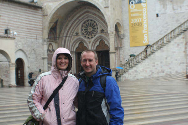 Campus ministers, Sarah and Tony, at St. Francis Basilica in Assisi, Italy