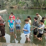 Renewing our baptismal vows in the Jordan River in May 2010.