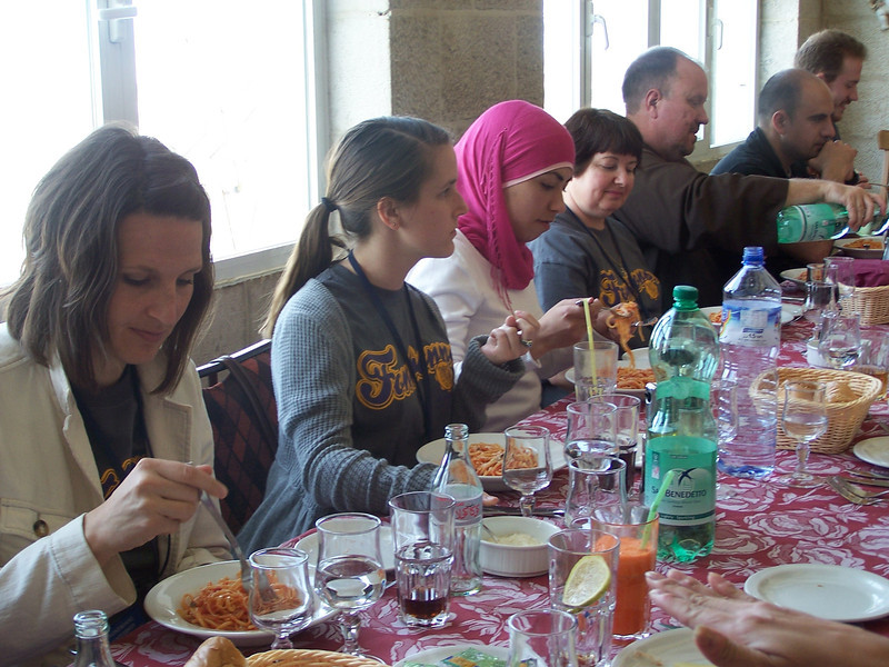 Enjoying a meal together in Jericho, Israel in March 2010.