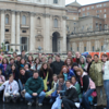 Students enjoying a rainy afternoon in St. Peter's Square in Rome, Italy in March 2008.