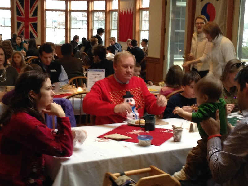 Mr. Hurd and his family, along with the Marceau family, enjoying breakfast.
