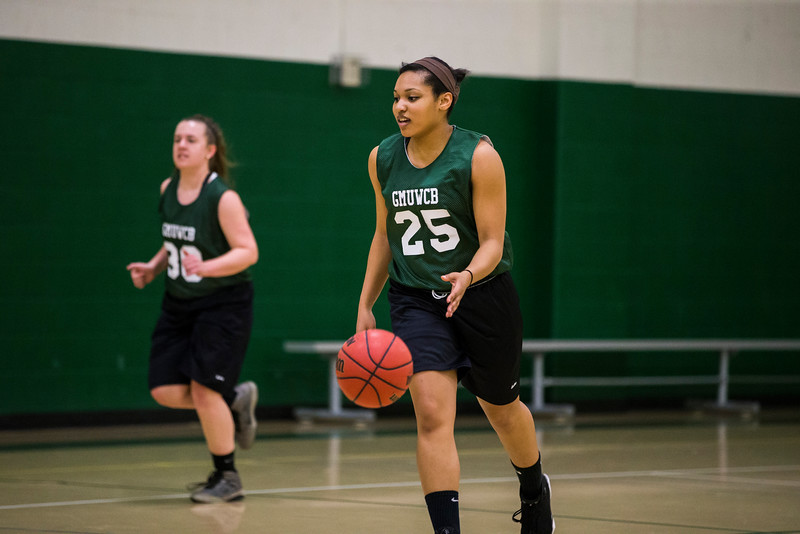 The George Mason women's basketball club practices.  Bonnie Bishop (not pictured) worked with Mason Recreation to get a team together when she transferred here and found no outlet for her love of basketball.  Photo by Craig Bisacre/Creative Services/George Mason University