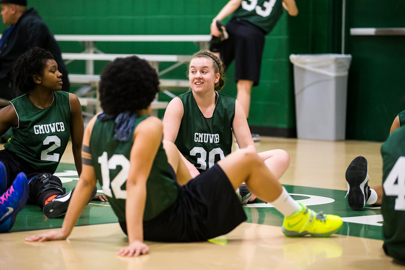 Bonnie Bishop (center) started George Mason women's basketball club after transferring and finding no club outlet for her basketball passion.  Photo by Craig Bisacre/Creative Services/George Mason University