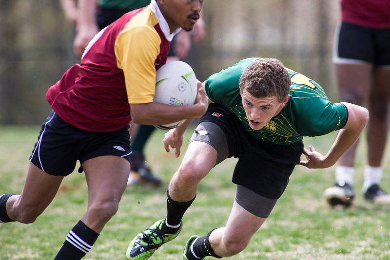 Mason men's club rugby team at Mason intramural fields. Photo by Craig Bisacre/Creative Services/George Mason University