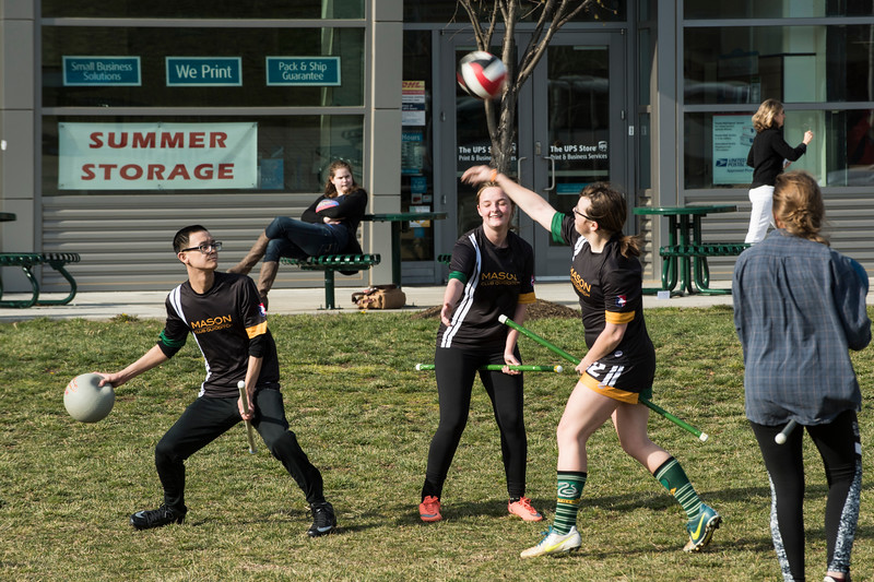 Students play the Harry Potter game Quidditch for Geek Week at GMU Fairfax.  Photo by:  Ron Aira/Creative Services/George Mason University