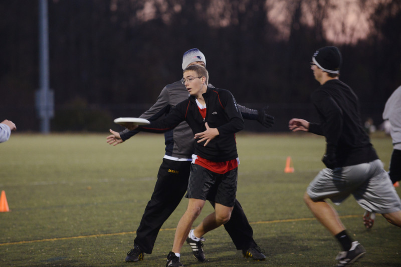 Students from the Ultimate Frisbee Club practice to compete against schools on the state, regional and national levels. Photo by Evan Cantwell