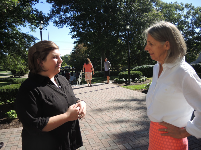 Sue Kenney stayed after the traditional handshakes to share her own gratitude for the talk.