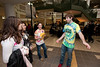 111003505 - Mason students Seth Dunoff (R), sophomore, Sociology Major, and  Elizabeth Coalter (2nd R), junior, Psychology Major, host a booth for the new student group Active Minds on National Day Without Stigma at the Johnson Center. Photo by Alexis Glenn