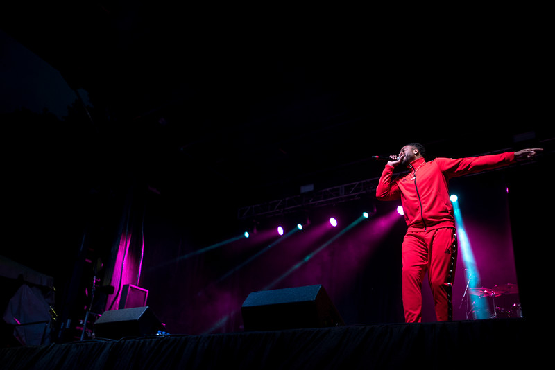 Sage the Gemini performs at Mason Day 2019. Photo by Bethany Camp/Creative Services/George Mason University.