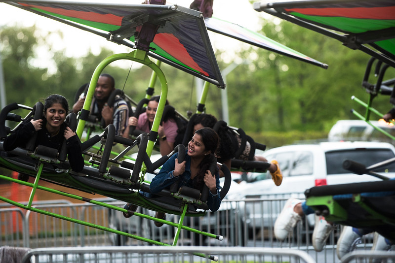 Students celebrate Mason Day 2019 with carnival rides, games, and performances on Fairfax campus. Photo by Bethany Camp/Creative Services/George Mason University.