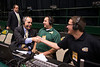 Dr. Ángel Cabrera speaks on air with the student radio station, WGMU, during Mason Madness at the Patriot Center. Photo by Alexis Glenn/Creative Services/George Mason University