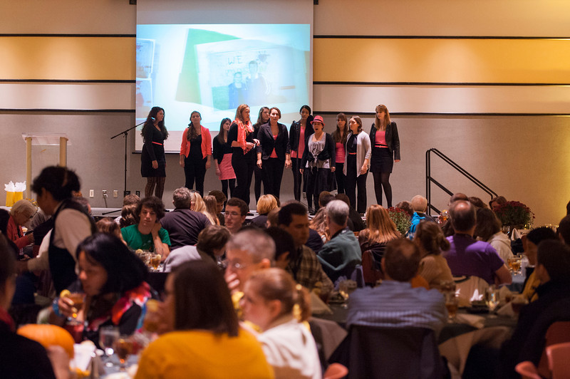 A student group performs at the Family Weekend Welcome Dinner at Fairfax campus. Photo by Alexis Glenn/Creative Services/George Mason University