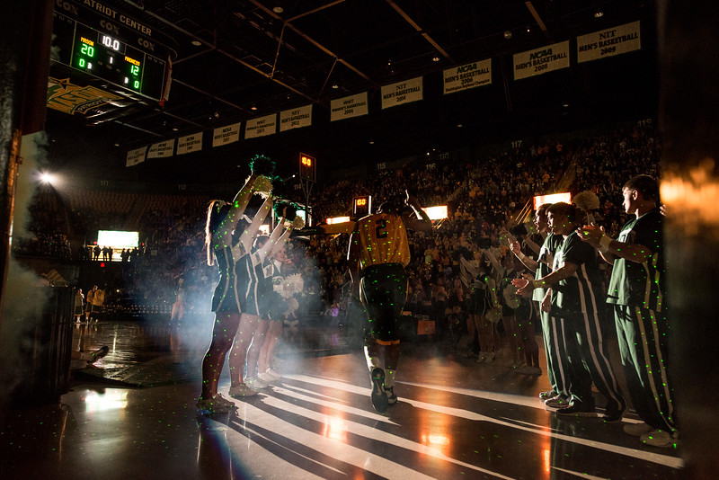 The Men's Basketball team enters Mason Madness at the Patriot Center. Photo by Alexis Glenn/Creative Services/George Mason University