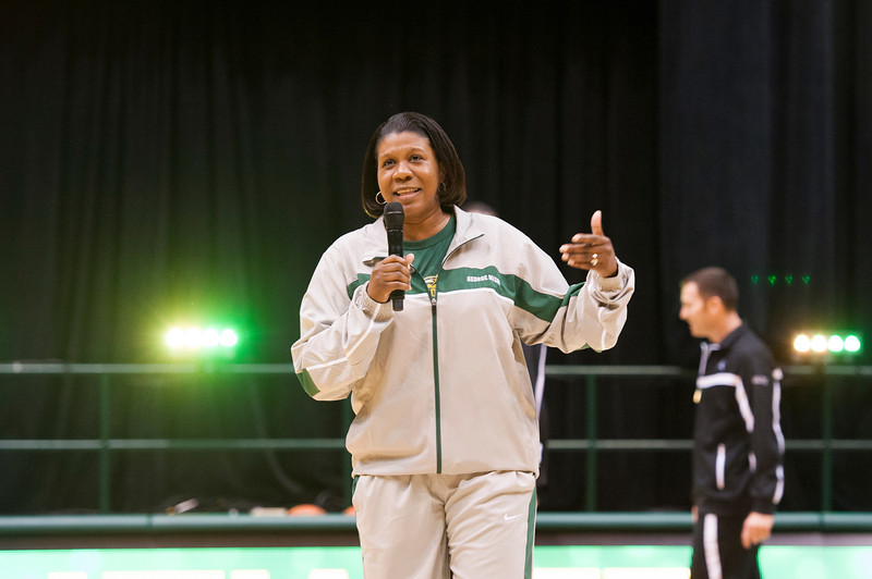 Women's basketball coach Jeri Porter speaks at Mason Madness at the Patriot Center. Photo by Alexis Glenn/Creative Services/George Mason University