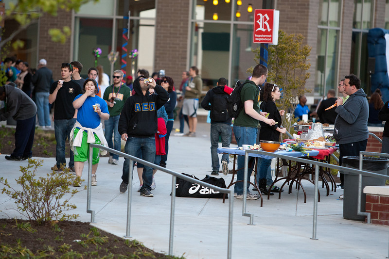 Students participate in great medieval fun around the Pilot House.  Jousting, moon bounce castle, turkey legs, and medieval themed movies were some of the events that were offered to students during the block party at the residence hall. Photo by Craig Bisacre /Creatives Services /George Mason University