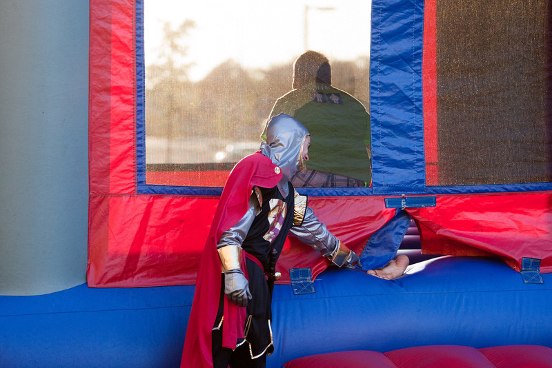 Students participate in great medieval fun around the Pilot House.  Jousting, moon bounce castle, turkey legs, and medieval themed movies were some of the events that were offered to students during the block party. Photo by Craig Bisacre /Creatives Services /George Mason University
