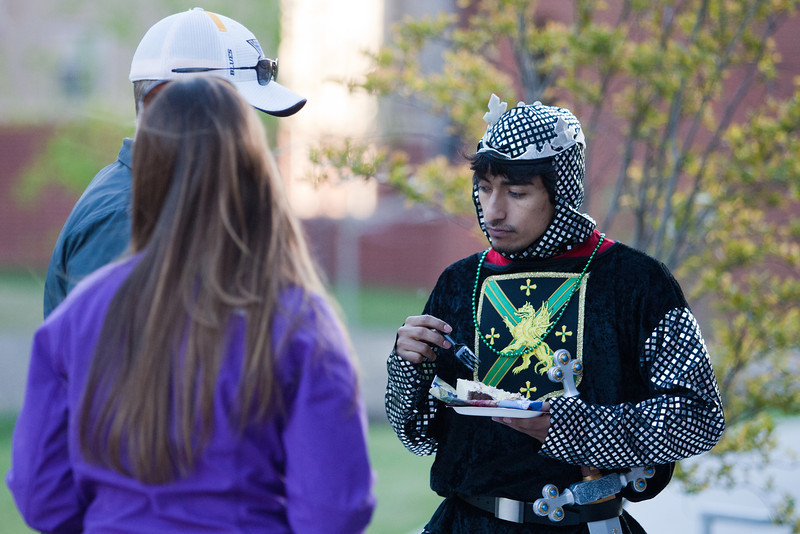 Students participate in great medieval fun around the Pilot House.  Jousting, moon bounce castle, turkey legs, and medieval themed movies at the residence hall. Photo by Craig Bisacre /Creatives Services /George Mason University