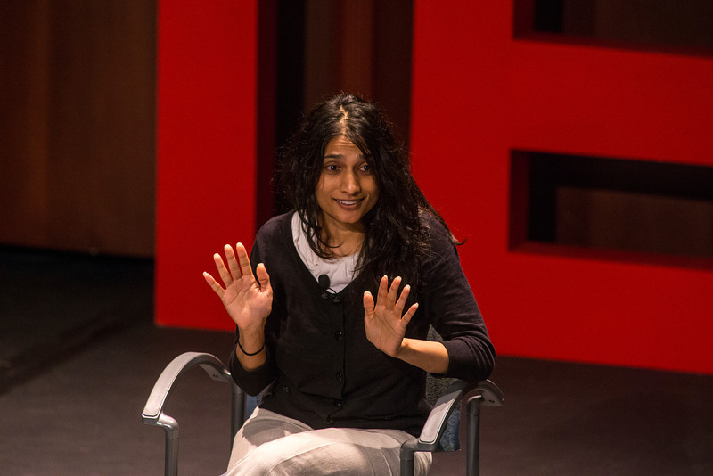 Mamta Petal Nagaraja speaks to guest during the 3rd annual TEDx conference at the Hylton Performing Arts Center. Photo by Craig Bisacre/Creative Services/George Mason University