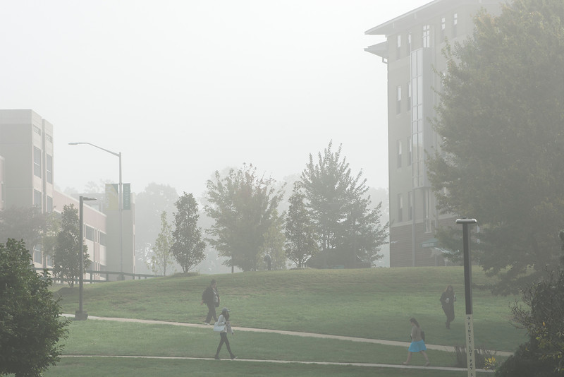 Fairfax campus in the fog
