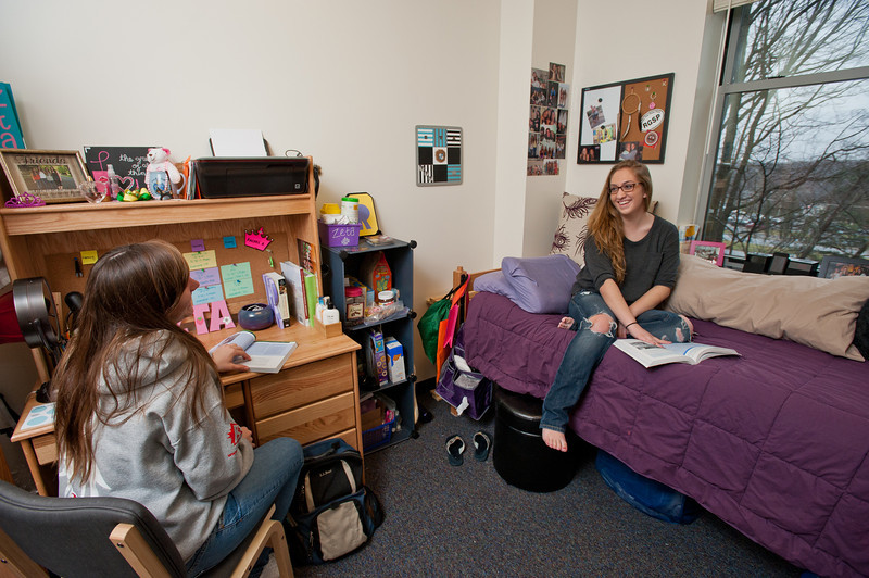 Mason students work inside the Whitetop residence hall on Fairfax campus. Photo by Alexis Glenn/Creative Services/George Mason University