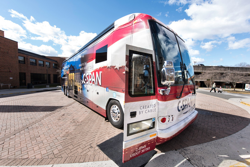 The C-SPAN Bus rolls onto George Mason University's Fairfax Campus.  The bus is loaded with interactive technology that allows visitors to deepen their knowledge about the current presidential campaigns and the federal government in general. Photo by Ron Aira/Creative Services/George Mason University