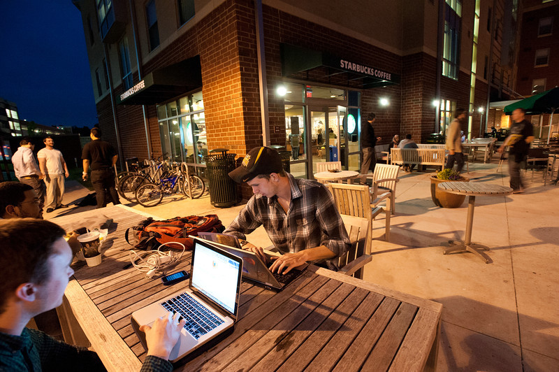 Students work at Starbucks at Fairfax Campus. Photo by Alexis Glenn/Creative Services/George Mason University