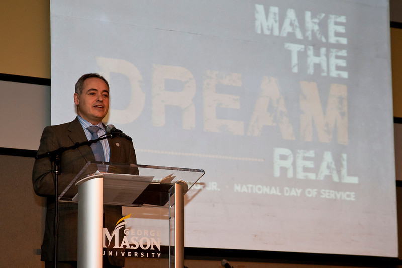 President Ángel Cabrera, delivers the keynote address during the Martin Luther King Evening of Reflection. Photo by Craig Bisacre/Creative Services/George Mason University