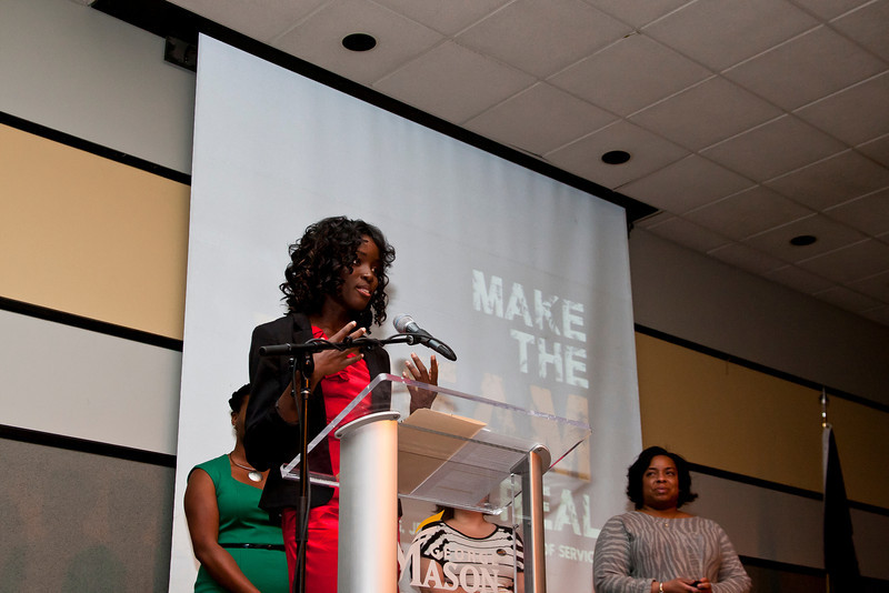 Johnetta Saygbe, speaks after being awarded the Spirit of the King Award during the Martin Luther King Evening of Reflection. Photo by Craig Bisacre/Creative Services/George Mason University