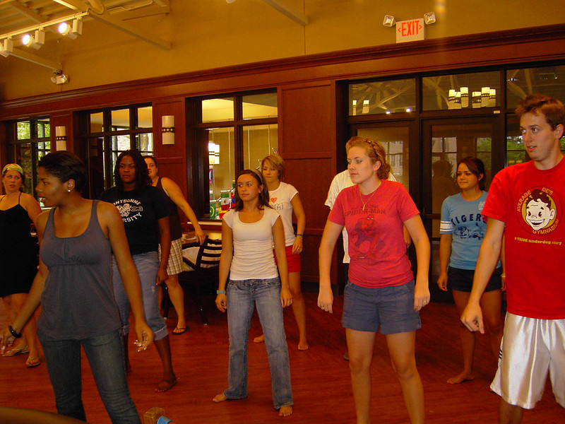 The FOCUS Leaders show off their dance moves, while practicing their dance routine.