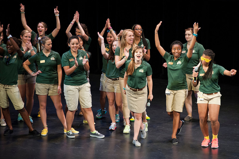 Patriot Leaders entertain incoming freshman students and families during orientation at Fairfax campus. Photo by Alexis Glenn/Creative Services/George Mason University