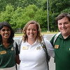 Orientation and Family Programs staff (Left - right) Sam Wettasinghe; Leah Quinn (white shirt), Assistant Director; and Stan Heaney. Photo by Evan Cantwell/Creative Services/George Mason University