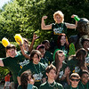 Incoming freshman students pose at the Mason Statue during orientation at Fairfax campus. Photo by Alexis Glenn/Creative Services/George Mason University